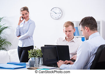Clerks working in corporation