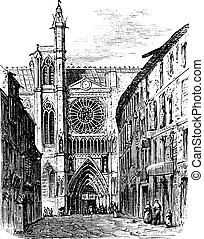 Clermont-Ferrand Cathedral, in Auvergne, France, vintage engraving