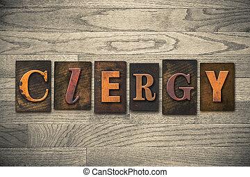 clero, concepto, de madera, texto impreso, tipo