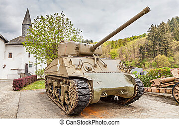 Sherman tank - CLERVAUX, LUXEMBOURG - APRIL 26, 2014: Old US...