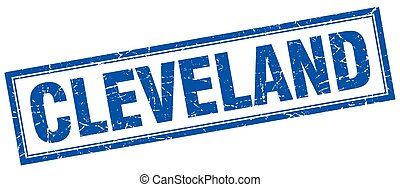 Cleveland blue square grunge stamp on white