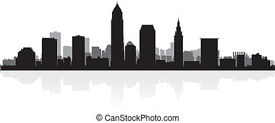 Cleveland city skyline silhouette - Cleveland USA city ...