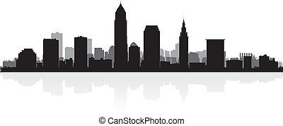 Cleveland city skyline silhouette - Cleveland USA city ...