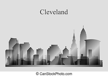 Cleveland city skyline silhouette in grayscale