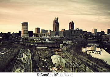 Cleveland during sunset. Panorama of the city with Cuyahoga...