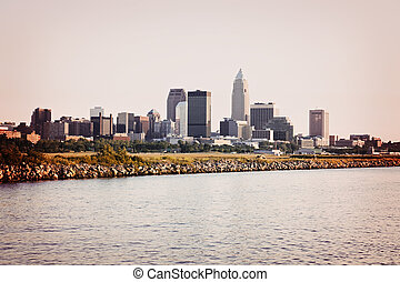 Downtonw of Cleveland, Ohio seen from Lake Erie
