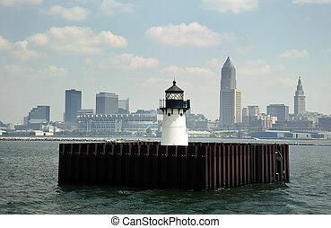 Downtown of Cleveland, Ohio seen from Lake Erie with the lighthouse