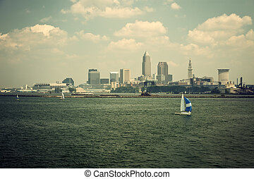 Sailing Lake Erie with Cleveland, Ohio view