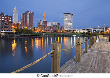 Image of Cleveland downtown at twilight blue hour.