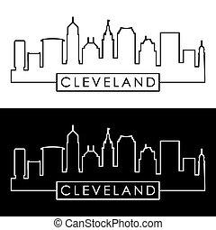 Cleveland linear skyline. Line art.