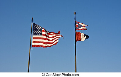 Cleveland, Ohio and USA flags