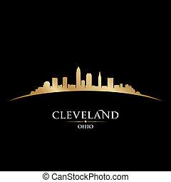 Cleveland Ohio city skyline silhouette black background -...