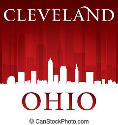 Cleveland Ohio city skyline silhouette red background