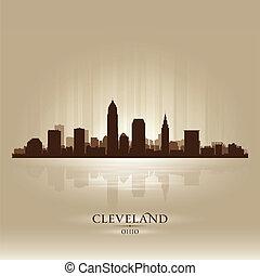 cleveland, ohio, contorno, ciudad, silueta
