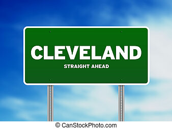 Cleveland, Ohio Highway Sign - Green Cleveland, Ohio highway...