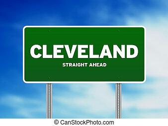 Cleveland, Ohio Highway Sign - Green Cleveland, Ohio highway...
