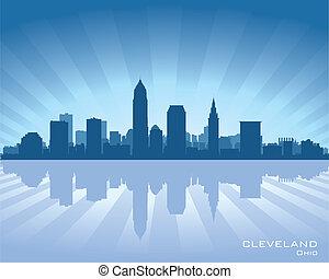 Cleveland, Ohio skyline illustration with reflection in...