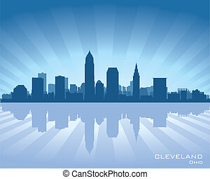 Cleveland, Ohio skyline illustration with reflection in water