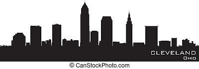 cleveland, ohio, skyline., szczegółowy, wektor, sylwetka