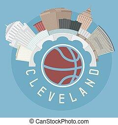 Cleveland Ohio Usa flat design vector illustration with basketball theme