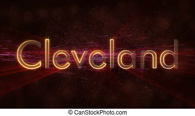 Cleveland - Shiny looping city name text animation -...
