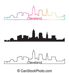 cleveland, skyline, lineære, firmanavnet, hos, regnbue