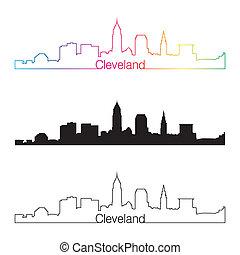 Cleveland skyline linear style with rainbow in editable vector file