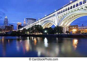 Cleveland skyline seen accross Cuyahoga River