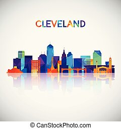 Cleveland skyline silhouette in colorful geometric style.