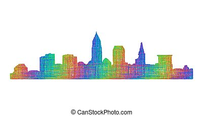 Cleveland skyline silhouette - multicolor line art