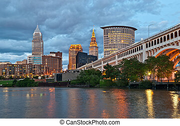 Cleveland - Image of Cleveland downtown at twilight blue...
