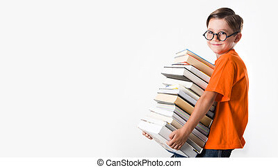 Clever boy - Portrait of schoolboy wearing glasses and ...