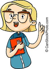 Clever cartoon girl talking important things with finger up. Vector isolated hand drawn character.