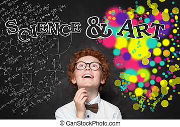Clever child boy looking at maths formula and art pattern background. Brainstorming, creativity and education concept