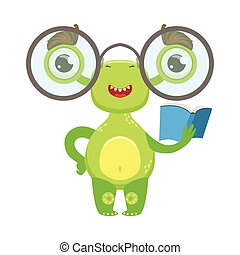 Clever Funny Monster With Glasses And Book, Green Alien Emoji Cartoon Character Sticker