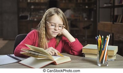 Clever girl doing homework for middle school - Cute girl...