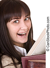 Clever girl in brace with heap book. - Clever girl in brace...