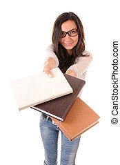 Clever girl with books - Clever young woman in glasses with...
