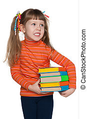 Clever happy little girl with books