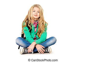 clever kid - Cute ten years girl wearing casual clothes. ...