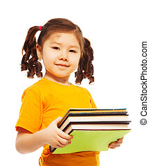 Clever kid with books