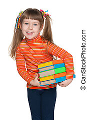 Clever little girl with books