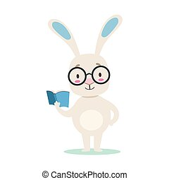 Clever Little Girly Cute White Pet Bunny Wearing Glasses Reading A Book, Cartoon Character Life Situation Illustration