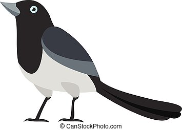 Clever magpie icon, flat style