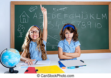 clever nerd student girl in classroom raising hand with sad ...