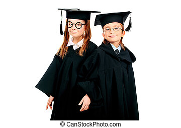 clever pupils - Portrait of two children in a graduation...