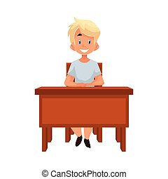 Clever school girl sitting at the desk with open book -...