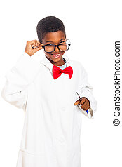 Clever scientist boy - Cute happy clever scientist school...