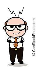 Clever Smile - Retro Cartoon Office old Boss Man Vector Illustration