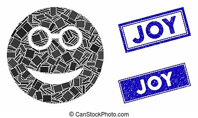 Clever Smiley Mosaic and Grunge Rectangle Seals
